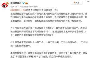 微博公布专项整治处置结果公告:今日关闭并公示第一批违规账号共136个